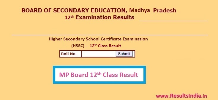 MPBSE MP Board 12th HSSC Result 2020