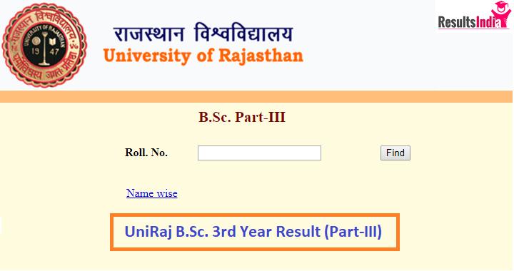 Uniraj B.Sc 3rd Year Result 2021 Part3