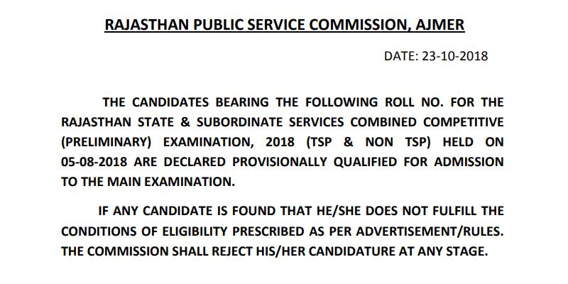 RPSC RAS Pre Result 2018