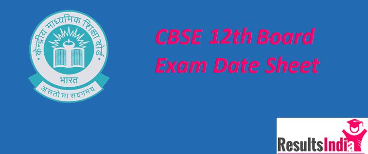 CBSE 12th Class Date Sheet 2021