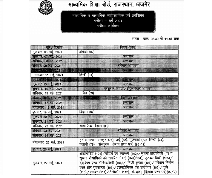 rbse 10th exam time table 2021