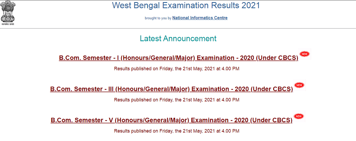 University of Calcutta B.Com. 1, 3, 5 Semester Result 2021 declared on wbresults.nic.in